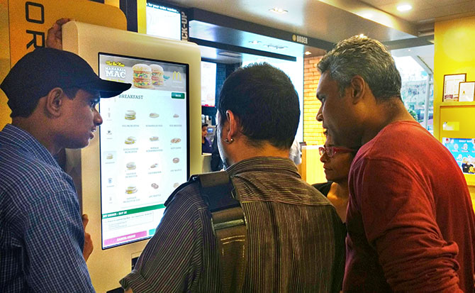 Online ordering in house at McDonald's, Kalamboli, near Mumbai