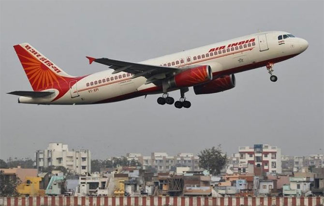 An Air India flight takes off from Ahmedabad. Photograph: Amit Dave/Reuters