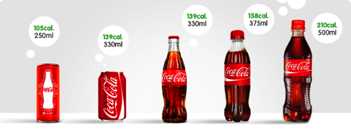 The different sizes of Coke. Photo: Courtesy Coke