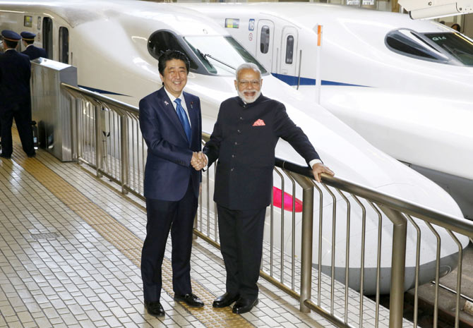 Abe will lay the foundation stone for India's first bullet train project.
