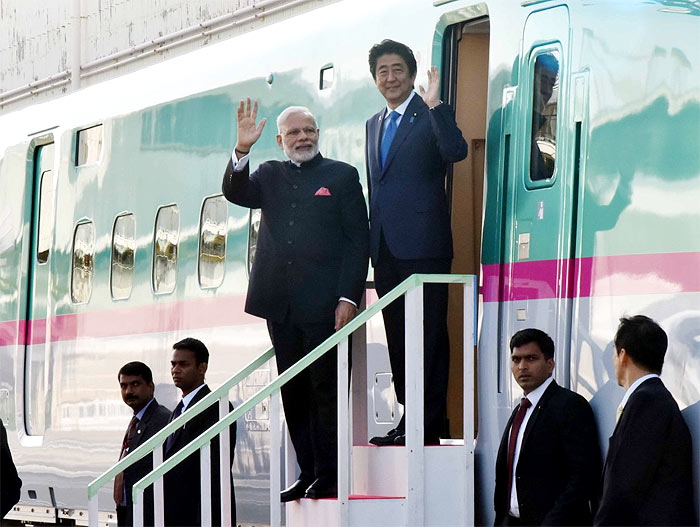 Modi and Shinzo Abe visit the Kawasaki Heavy Industries Plant during the former's visit to Japan last year.
