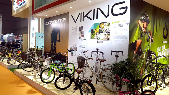 Hero Cycles stand at the Shanghai Bike Show in 2016. Photograph: Courtesy @vikingbikes/Twitter.