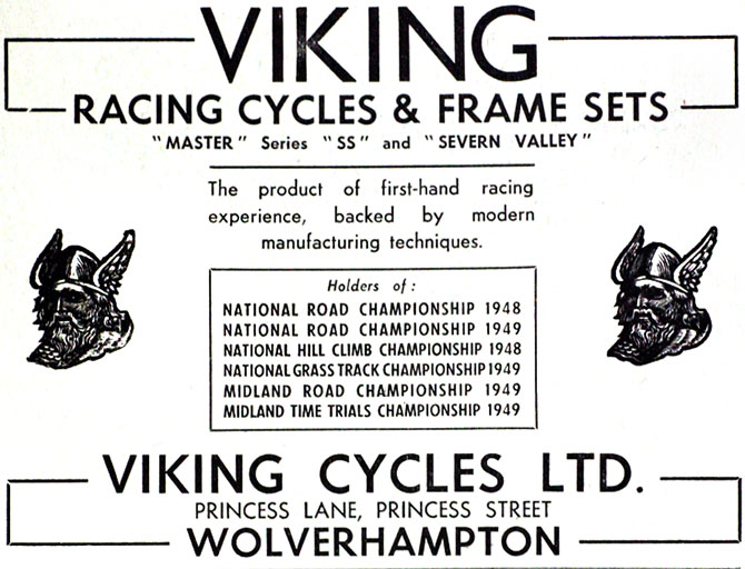 Old advertisement for Viking Cycles. Photograph: Courtesy www.avocetsports.co.uk.