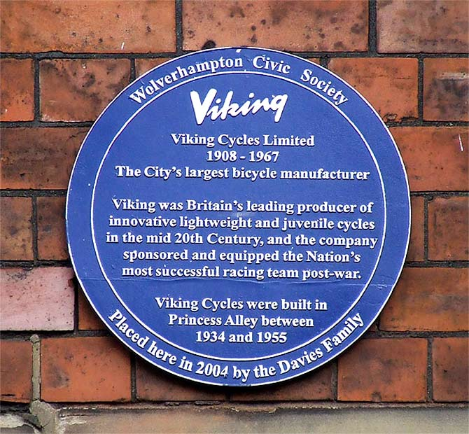 Site of the first factory and workshop. Photograph: Courtesy: Roger Kidd / Plaque - Viking Cycles Limited, Wolverhampton / CC BY-SA 2.0/Wikimedia Commons.