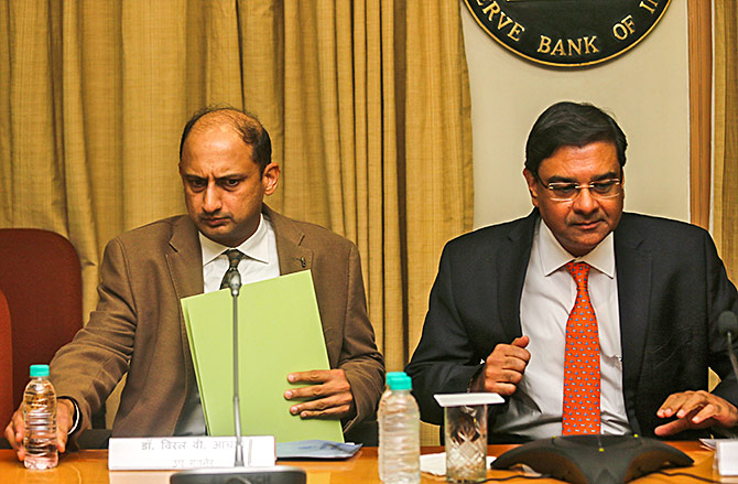 Then Reserve Bank of India governor Dr Urjit R Patel, right, and Deputy Governor Dr Viral V Acharya at the news conference after a monetary policy review in Mumbai, December 5, 2018. Photograph: Francis Mascarenhas/Reuters