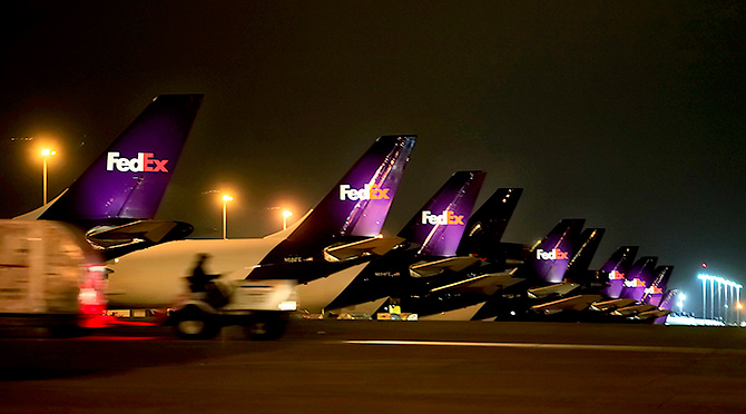 Fedex planes move millions of packages of international online shopping especially in December. Photograph: Lance Murphey/Reuters.