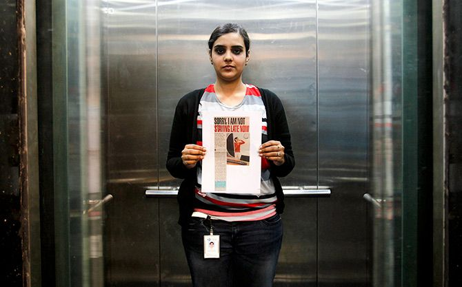 Deepshikha Bharadwaj, 24, works for an advertising agency in Gurgaon. Photograph: Mansi Thapliyal/Reuters.