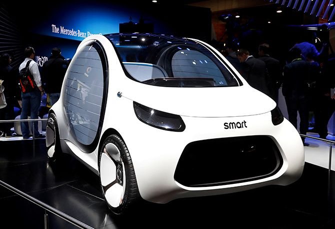 A Smart Vision EQ fortwo concept car is displayed in the Mercedes booth at the Las Vegas Convention Center during the 2018 CES in Las Vegas, Nevada, U.S. January 9, 2018. Photograph: Steve Marcus/Reuters.