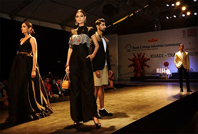 Khadi on the ramp. Photograph: Khadi and Village Industries Commission/Facebook