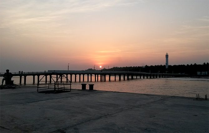 Sunset viewed from the eastern embarkation jetty, Kavaratti Island. Photograph: Courtesy Salahpoomalika/Wikimedia Commons