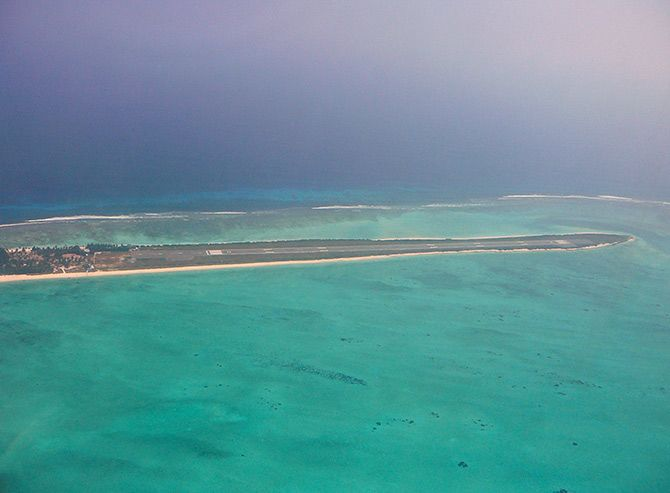 Agatti aerodrome, Lakshadweep. Photograph: Courtesy Julio/Wikimedia Commons.