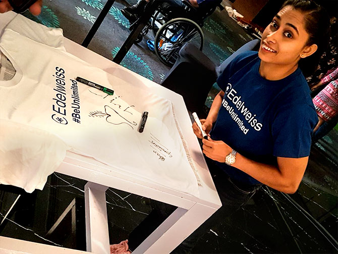 Dipa Karmakar gets best wishes from Eidelweiss. Photograph:  Courtesy @EdelweissFin/Twitter.