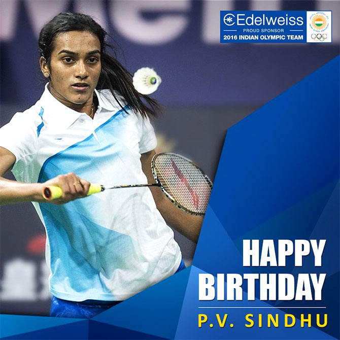 Celebrating PV Sindhu. Photograph: Courtesy @EdelweissFin/Twitter.