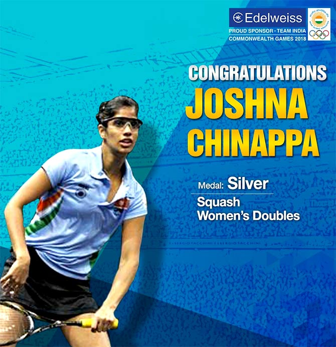 Encouraging squash champ Joshna Chinappa. Photograph: Courtesy @EdelweissFin/Twitter.