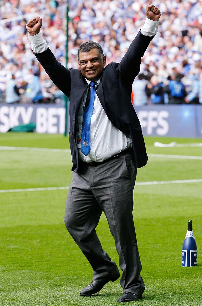 Queens Park Rangers chairman Tony Fernandes celebrates after winning the Football League Championship Play Off final at Wembley Stadium. Photograph: Action Images/Andrew Couldridge.