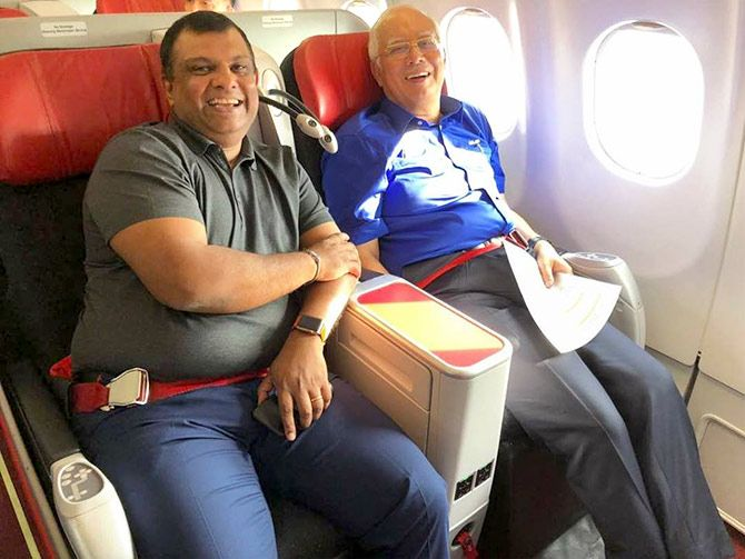 Malaysia's incumbent Prime Minister Najib Rajak flew with AirAsia CEO Tony Fernandes during his campaign. Photograph: Courtesy Najib Razak/Facebook,