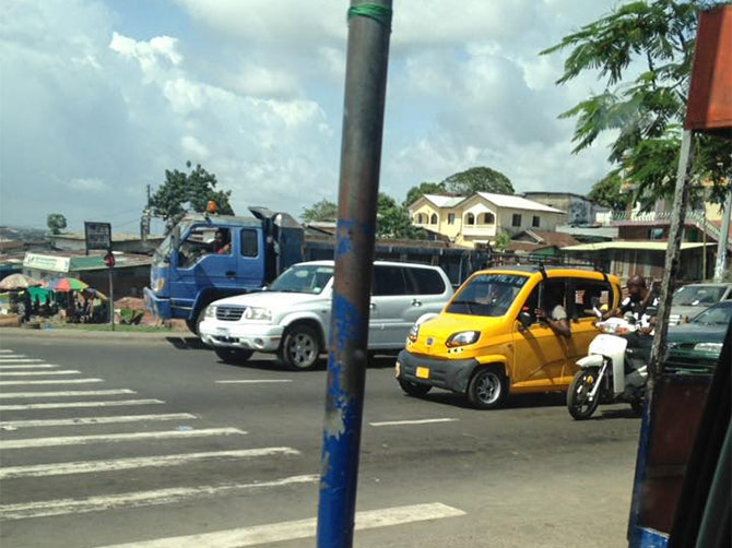 A Qute spotted in a city in Liberia. Photograph: Courtesy www.globalbajaj.com.