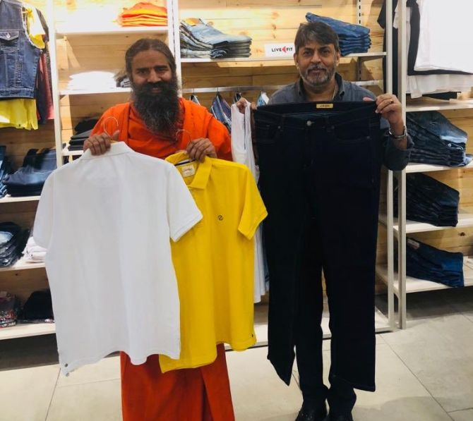 Baba Ramdev launches swadeshi jeans and T-shirts