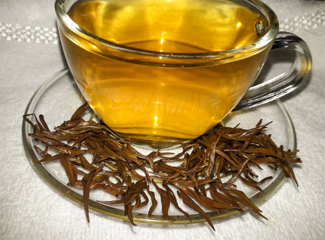 Golden Needles Tea from Donyi Polo, Arunachal Pradesh, sells at record price of Rs. 40,000/- per kg at Guwahati Tea Auction Centre on August 23, 2018. Photograph: Courtesy @teaboardofindia/Twitter.
