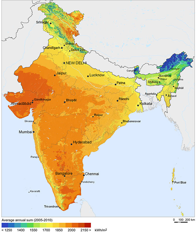 Solar resources map of India from 2011. Image: Courtesy: SolarGIS © 2011 GeoModel Solar s.r.o/Wikimedia Commons.
