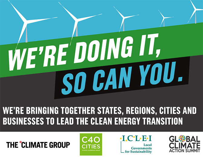 "A call to action to industries globally to transition to clean energy from The Climate Group, a non-profit that is working to ""catalyse climate leadership in government and business to accelerate the shift to a prosperous and thriving 'net-zero' future for all."" Image: Courtesy @ClimateGroup/Twitter. GO"