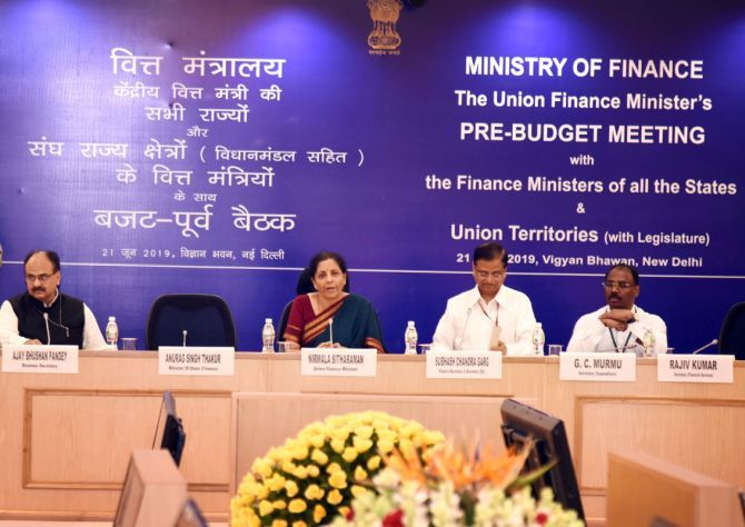 Finance Minister Nirmala Sitharaman meets finance ministers of states and Union territories in New Delhi on June 21, 2019. Photograph: Press Information Bureau