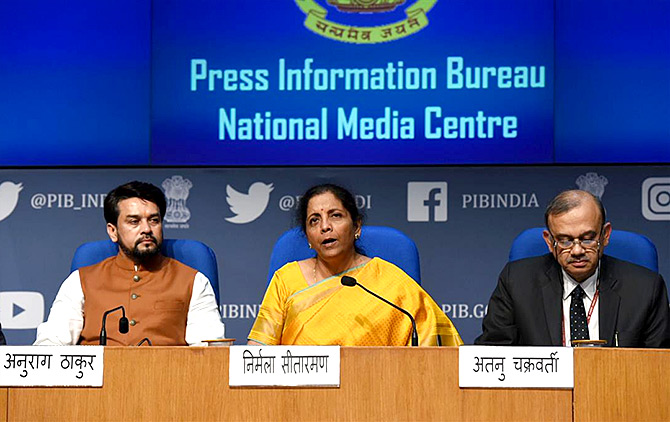 Finance Minister Nirmala Sitharaman at the post Budget press conference, February 1, 2020. Photograph: Press Information Bureau