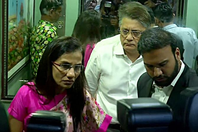 Former ICICI Bank CEO Chanda Kochhar with her husband Deepak Kochhar arrives to appear before Enforcement Directorate in connection with a bank loan fraud and money laundering case probe, in New Delhi. ANI Photo