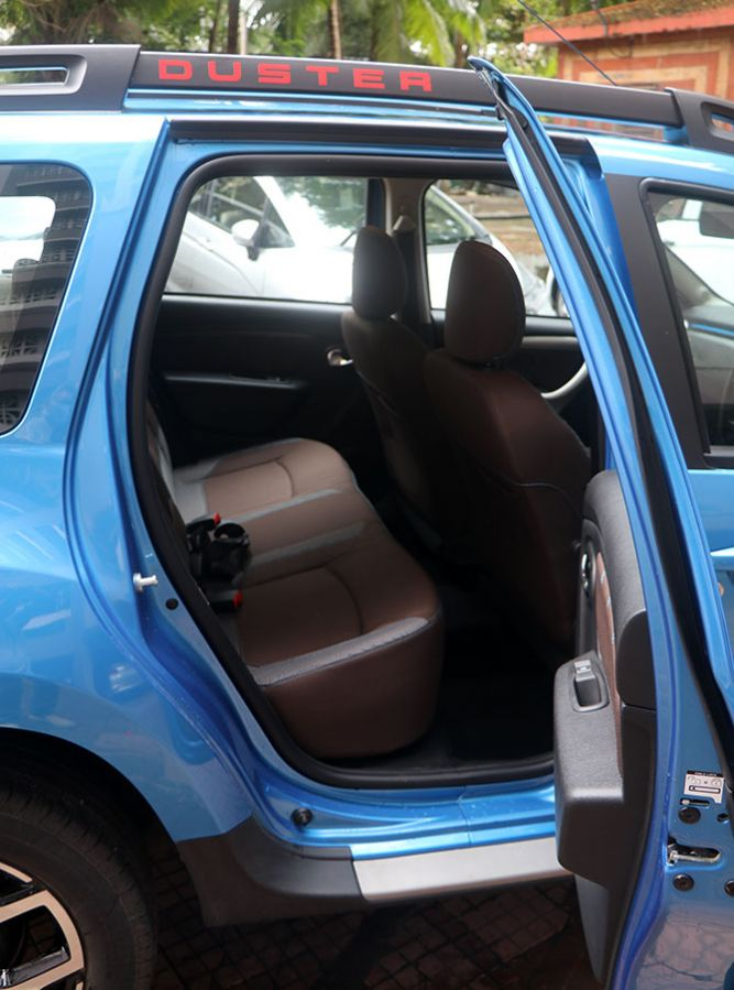 The rear seat of the Duster