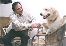 Sunil Dutt with his dog
