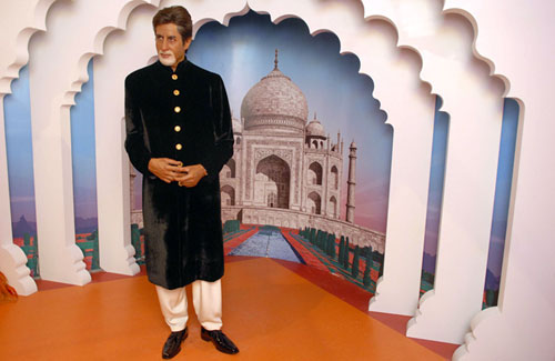 A wax figure of Amitabh Bachchan on display