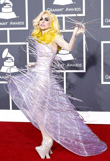 Lady Gaga strikes a pose on the 2010 Grammy red carpet.