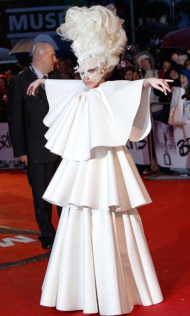 Lady Gaga arrives at the 30th Brit Awards ceremony at Earl's Court in London.