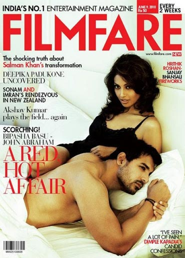 Bipasha Basu and John  Abraham on the cover of Filmfare