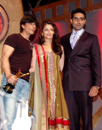 Abhishek, Aishwarya and Shah Rukh Khan