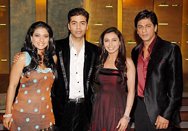 Karan with Kajol, Rani and SRK in a previous season