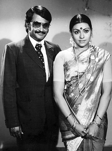 Sujatha with co-star Rajnikanth