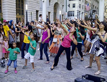 Flash mob dance in New York