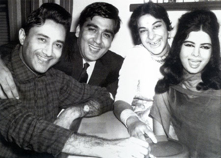 Dev Anand with close friends Sunil Dutt and Nargis, and wife Kalpana Karthik