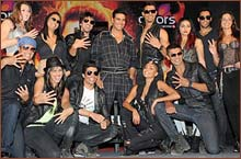 Akshay Kumar with the KKK contestants