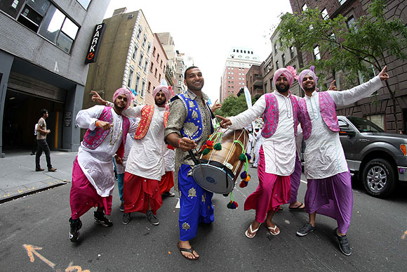 A group performs Bhangra at the India Day Parade