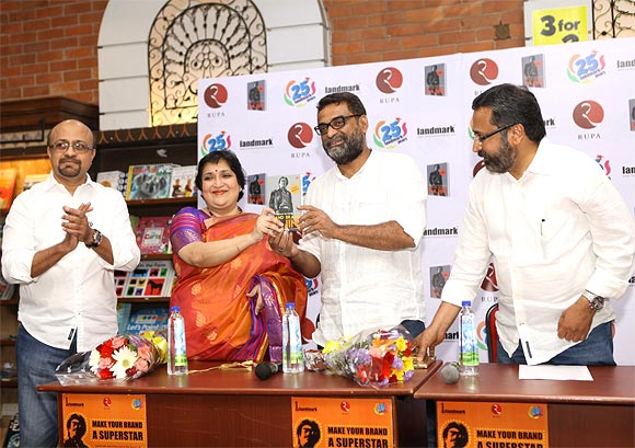 Rajinikanth's wife Lata with R Balki and the authors P C Balasubramaniam and Ram N Ramakrishnan