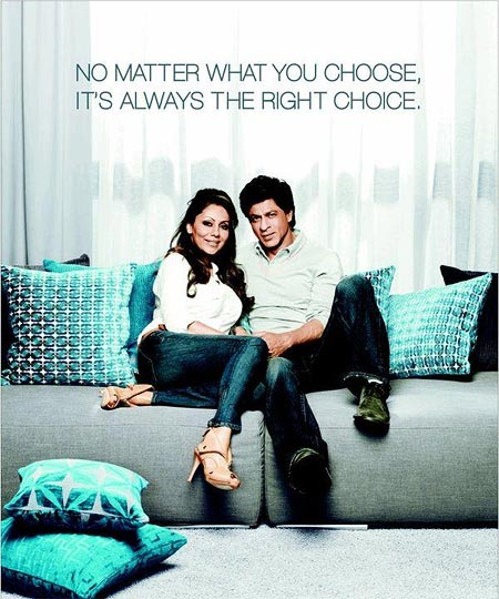 Shah Rukh Khan with wife Gauri in a DDecor ad