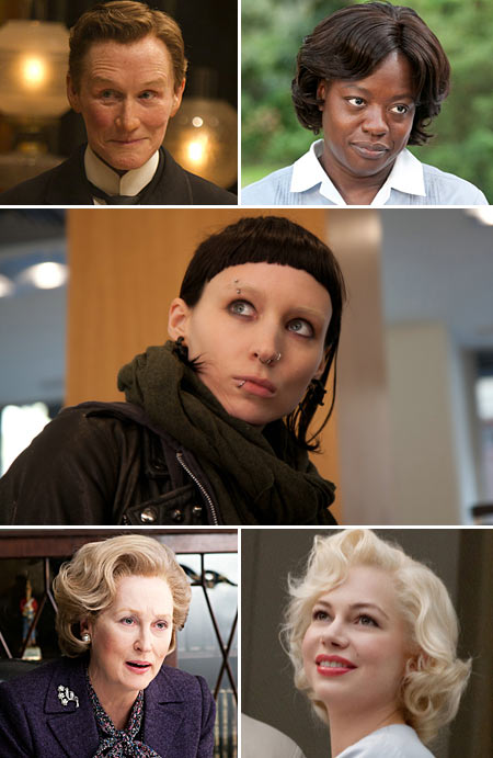 Top: Glenn Close, Viola Davis, Rooney Mara. Bottom: Meryl Streep and Michelle Williams