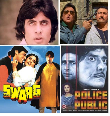 Clockwise: Amitabh Bachchan, Vinod Khanna, movie posters of Police Public and Swarg