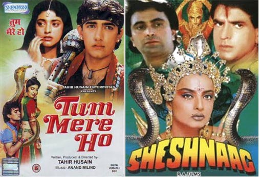 Movie posters of Tum Mere Ho and Sheshnaag