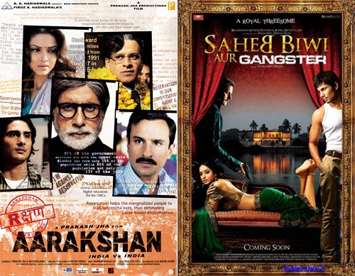 Movie posters of Aarakshan and Saheb Biwi Aur Gangster