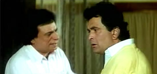 Kader Khan and Rishi Kapoor in Bol Radha Bol