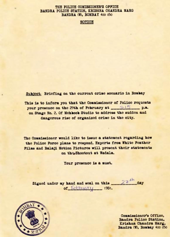 A copy of the media invitation for the launch of Shootout At Wadala