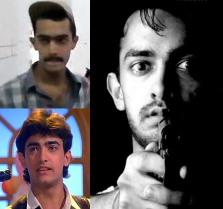Aamir Khan in (clockwise from right): Raakh, Qayamat Se Qayamat Tak and Holi